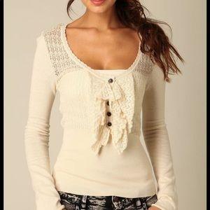 Free People Ruffle Pointelle Cream Sweater